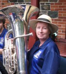 Barbara with her marching trombone